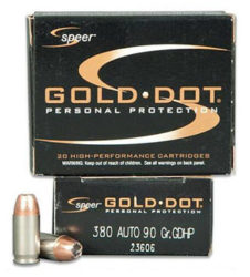 Speer Gold Dot .380 90gr Jacketed Hollow Point (20)