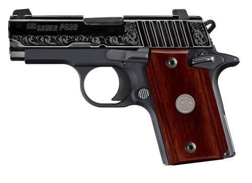 Sig Sauer P938 Polished Nitron Engraved 9mm 1 6rd 3