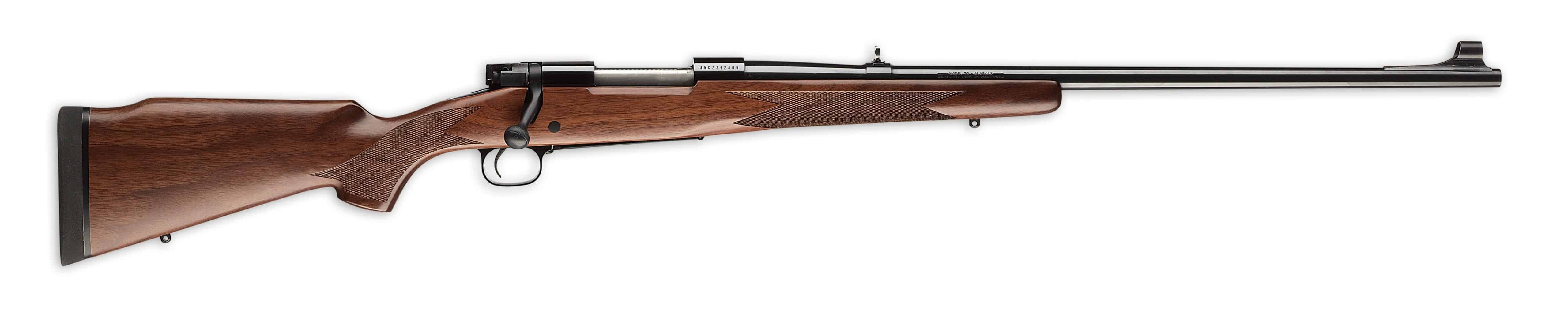 Winchester Model 70 Alaskan, 30-06, Walnut Stock, Pachmayr Recoil Pad,  Brushed Blued Finish, Open Sights, Hinged Floorplate, 25 0