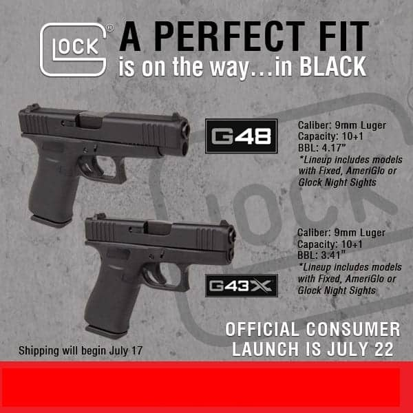 new glock 43x and 48 with black slides announcement at nagels